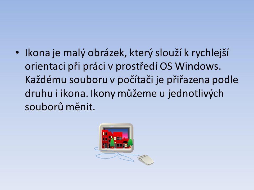 Ikona je malý obrázek, který slouží k rychlejší orientaci při práci v prostředí OS Windows. Každému souboru v počítači je přiřazena podle druhu i ikon