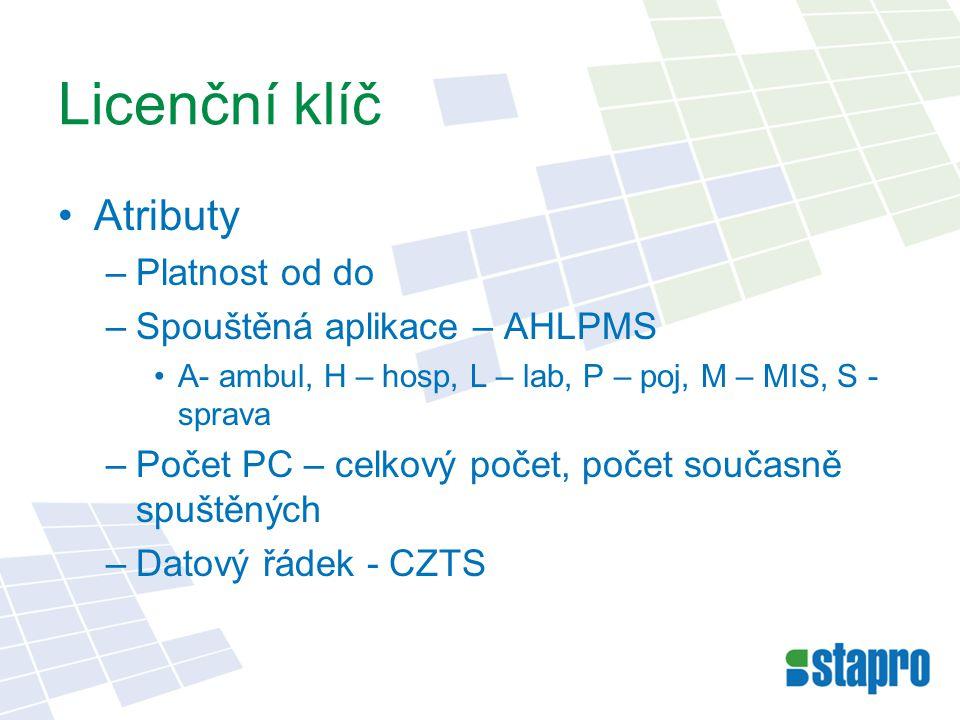 Fyzické umístění Serverová část –MASTER databáze –NISALSRV – serverový klíč – jedinečný pro SQL –NISALCLI – klientské klíče přiřazené jednotlivým PC –NISALBKP – záloha NISALCLI Klientská část –Registry PC –HKEY_LOCAL_MACHINE/SOFTWARE/AKORD/LIC ENCE