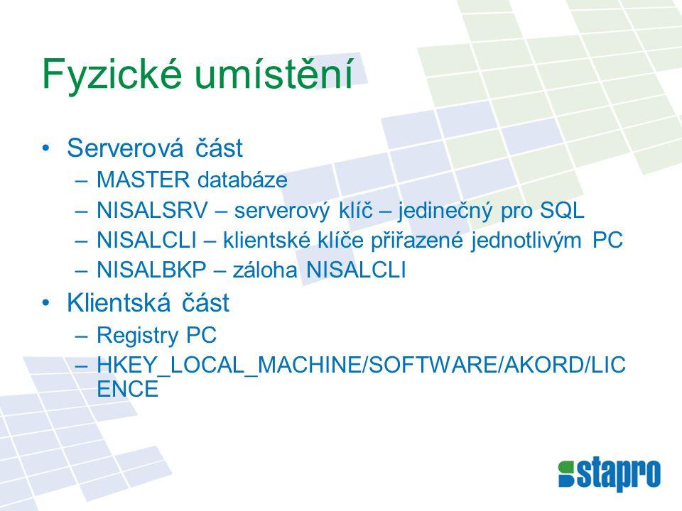 Instalace Serverová část –Instaluje STAPRO –Soubor *.DSS Klienti –AKORDDLP.EXE –Soubory *.DSA