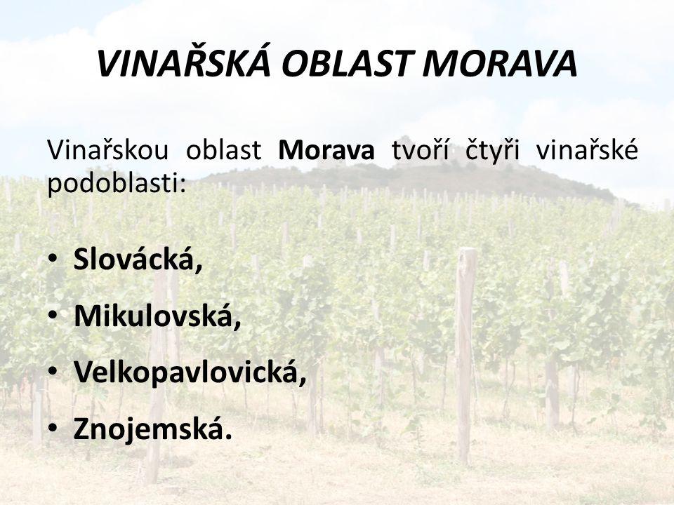 VINAŘSKÁ OBLAST MORAVA Vinařskou oblast Morava tvoří čtyři vinařské podoblasti: Slovácká, Mikulovská, Velkopavlovická, Znojemská.