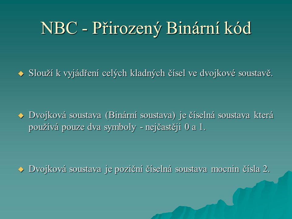 NBC - Přirozený Binární kód  Používá se ve všech moderních počítačích, neboť její dva symboly (0 a 1) odpovídají dvěma stavům elektrického obvodu (vypnuto a zapnuto).
