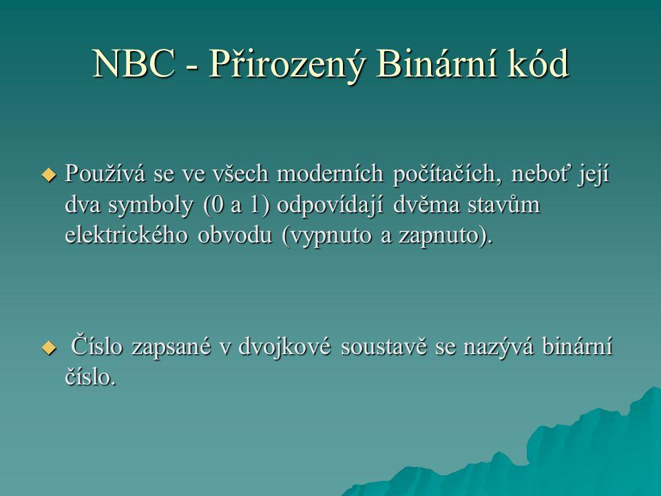 NBC - Přirozený Binární kód  Používá se ve všech moderních počítačích, neboť její dva symboly (0 a 1) odpovídají dvěma stavům elektrického obvodu (vy