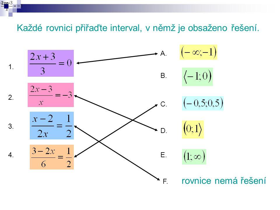 Každé rovnici přiřaďte interval, v němž je obsaženo řešení. 1. 2. 3. 4. A. B. C. D. E. F. rovnice nemá řešení
