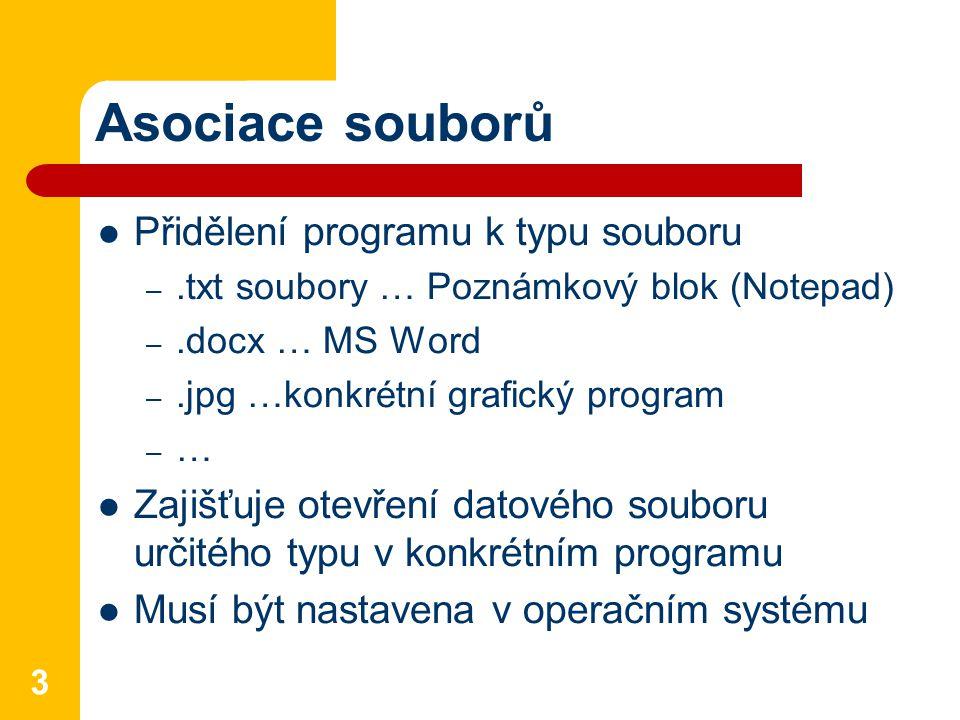 Asociace souborů Přidělení programu k typu souboru –.txt soubory … Poznámkový blok (Notepad) –.docx … MS Word –.jpg …konkrétní grafický program –…–… Zajišťuje otevření datového souboru určitého typu v konkrétním programu Musí být nastavena v operačním systému 3