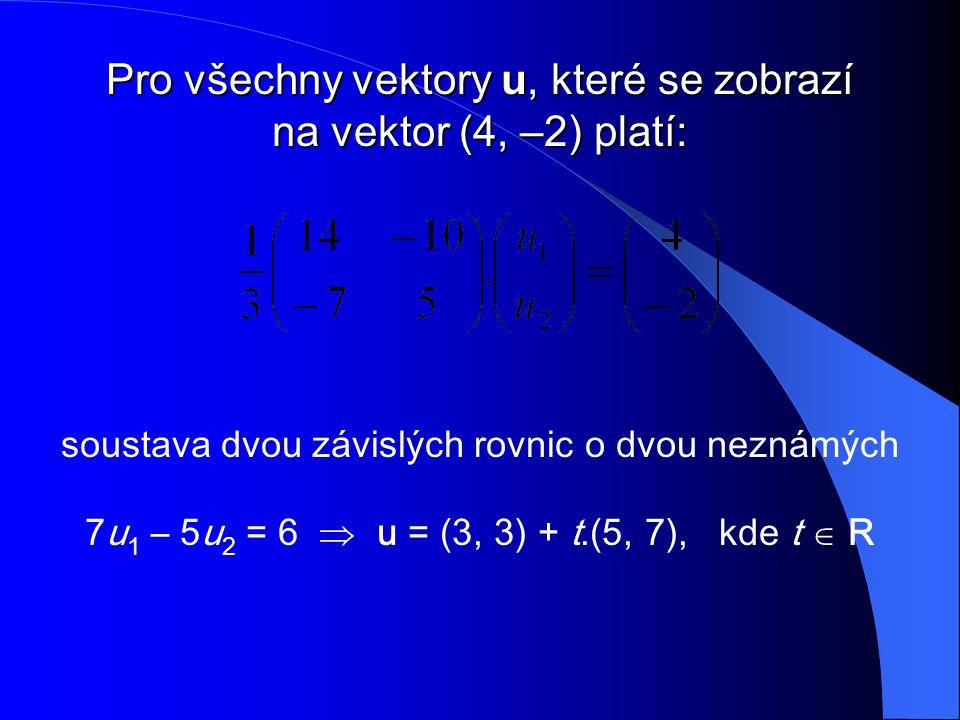 soustava dvou závislých rovnic o dvou neznámých 7u 1 – 5u 2 = 6  u = (3, 3) + t.(5, 7), kde t  R Pro všechny vektory u, které se zobrazí na vektor (