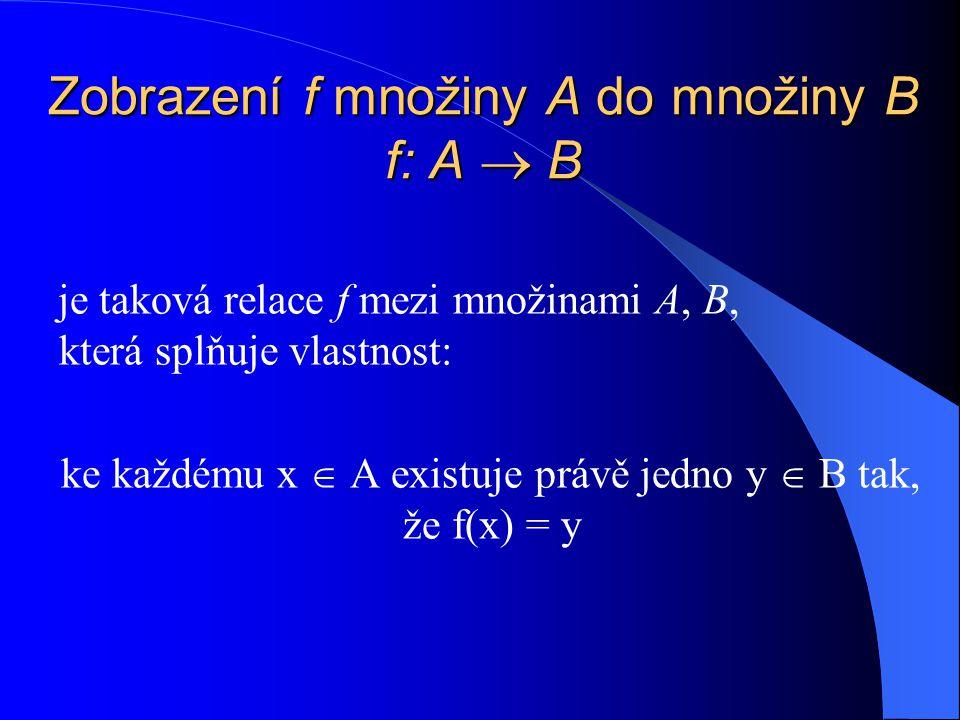 Zobrazení f množiny A do množiny B f: A  B je taková relace f mezi množinami A, B, která splňuje vlastnost: ke každému x  A existuje právě jedno y  B tak, že f(x) = y
