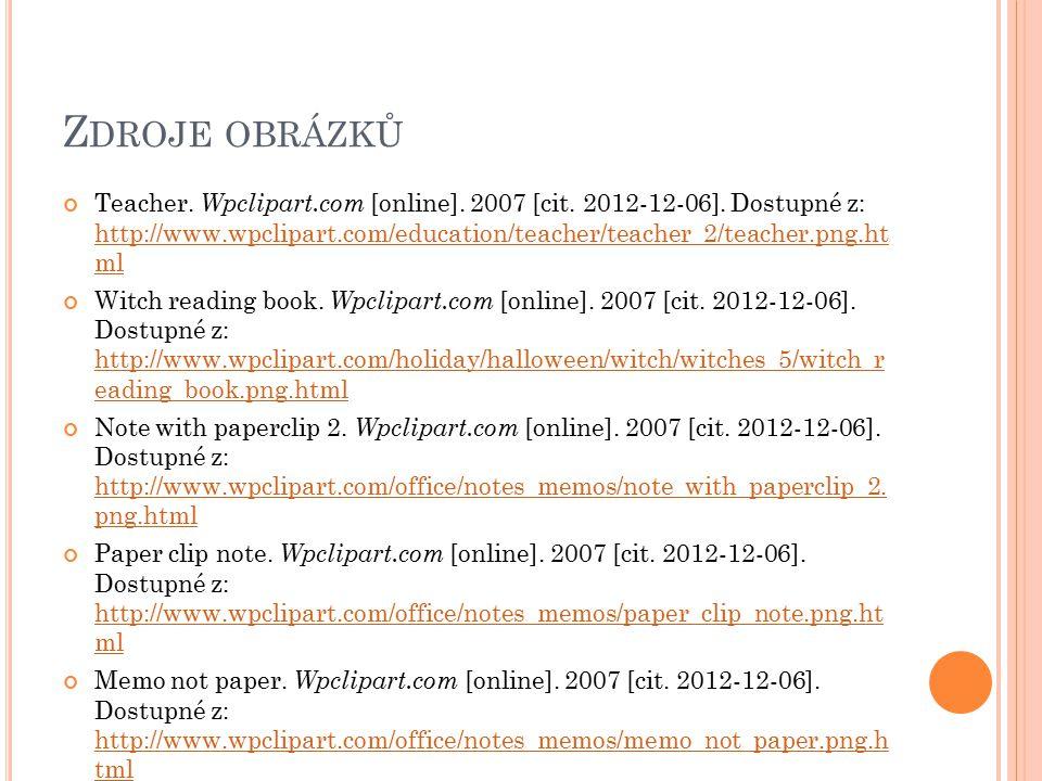Z DROJE OBRÁZKŮ Teacher. Wpclipart.com [online]. 2007 [cit.