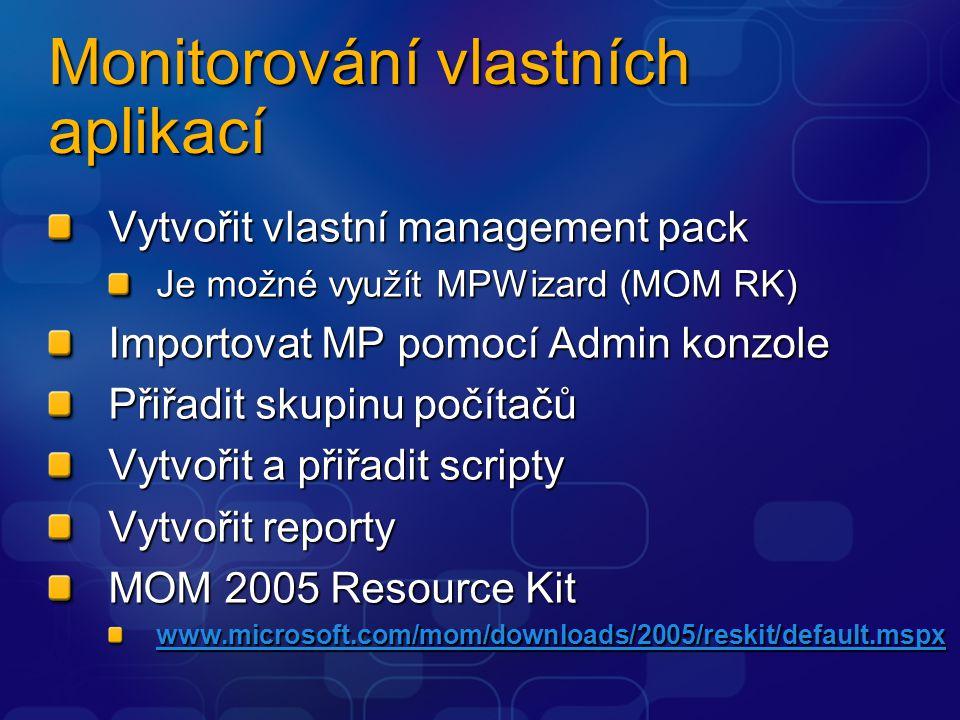 Monitorování vlastních aplikací Vytvořit vlastní management pack Je možné využít MPWizard (MOM RK) Importovat MP pomocí Admin konzole Přiřadit skupinu