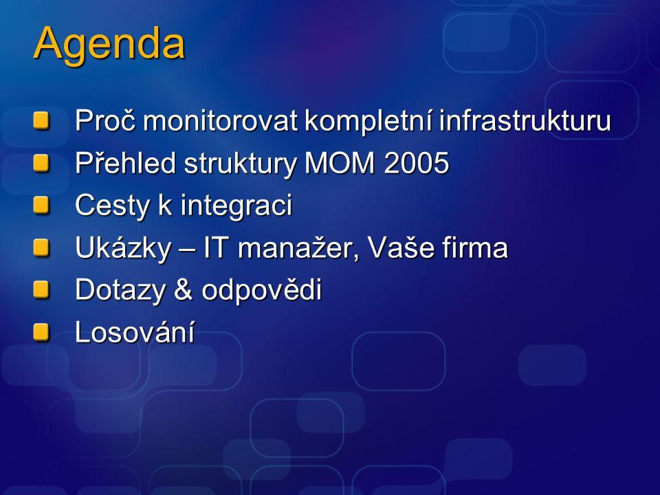 Agenda Proč monitorovat kompletní infrastrukturu Přehled struktury MOM 2005 Cesty k integraci Ukázky – IT manažer, Vaše firma Dotazy & odpovědi Losová