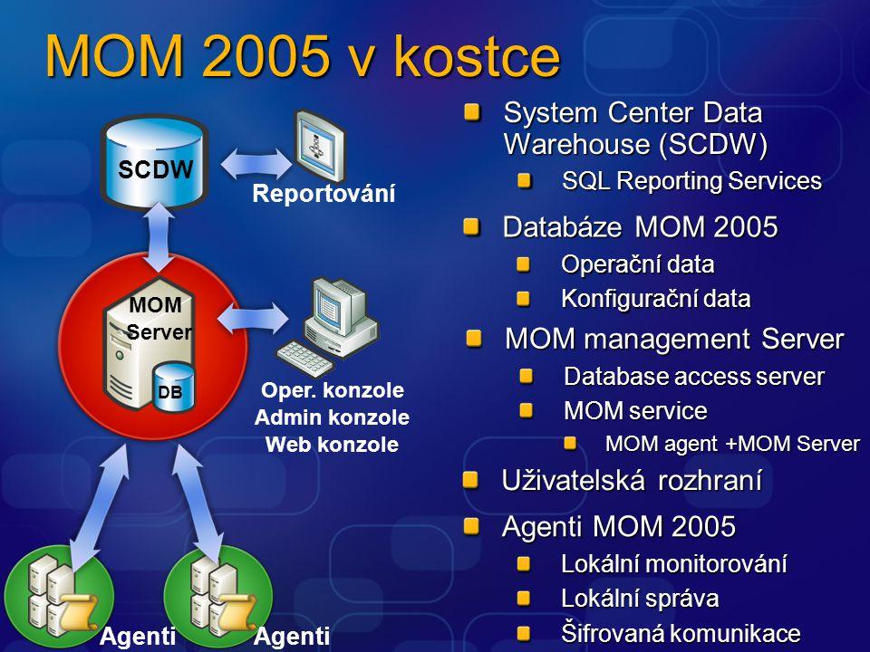 MOM 2005 v kostce Uživatelská rozhraní Reportování DB MOM Server Agenti Oper. konzole Admin konzole Web konzole System Center Data Warehouse (SCDW) SQ