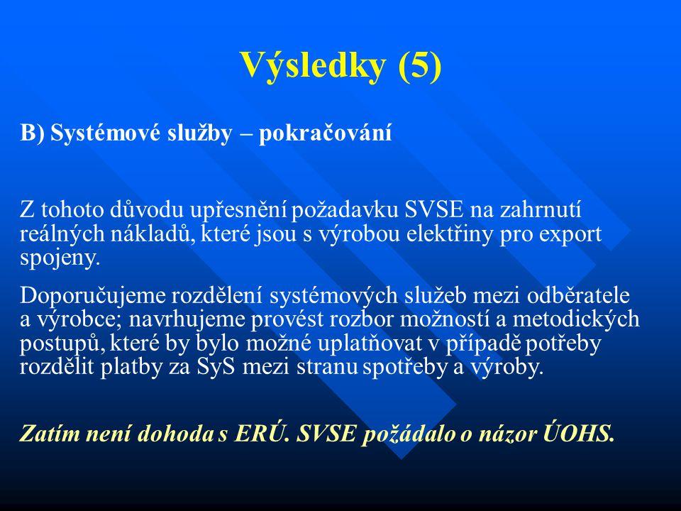 Výsledky (5) B) Systémové služby – pokračování Z tohoto důvodu upřesnění požadavku SVSE na zahrnutí reálných nákladů, které jsou s výrobou elektřiny pro export spojeny.