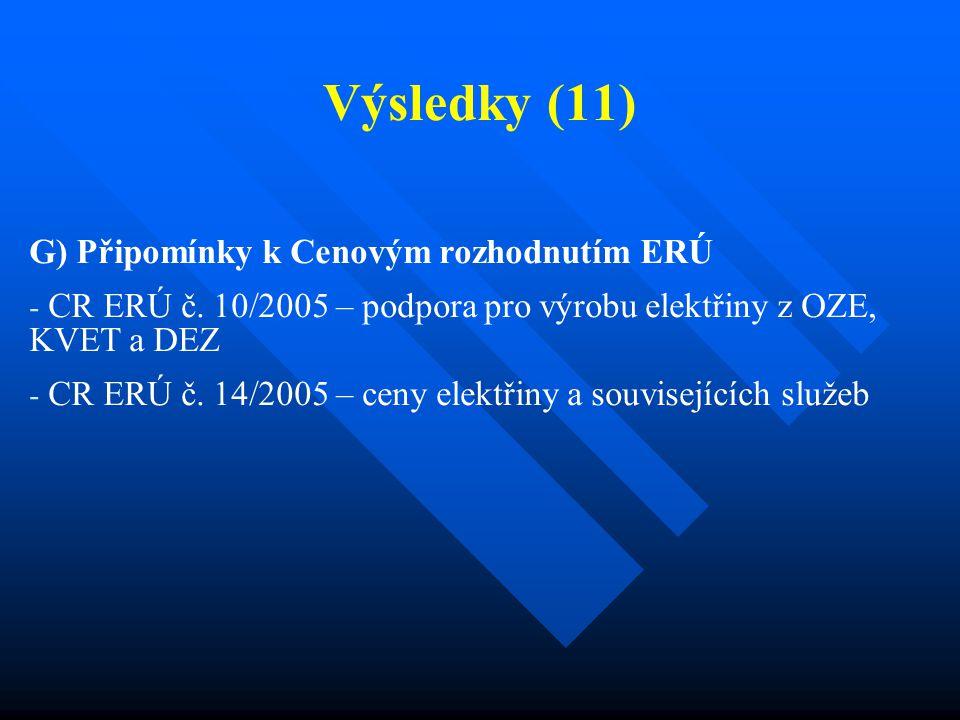Výsledky (11) G) Připomínky k Cenovým rozhodnutím ERÚ - CR ERÚ č. 10/2005 – podpora pro výrobu elektřiny z OZE, KVET a DEZ - CR ERÚ č. 14/2005 – ceny