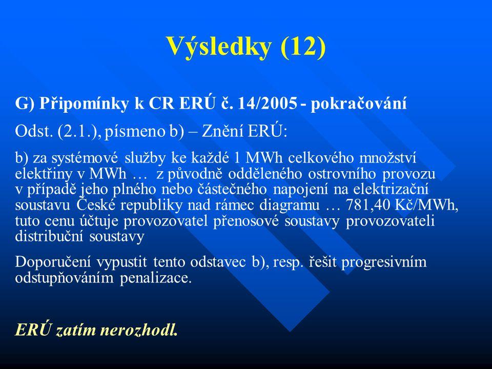 Výsledky (12) G) Připomínky k CR ERÚ č. 14/2005 - pokračování Odst.