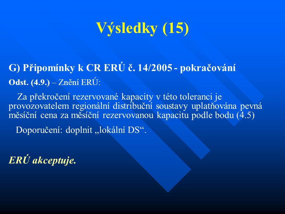 Výsledky (15) G) Připomínky k CR ERÚ č. 14/2005 - pokračování Odst. (4.9.) – Znění ERÚ: Za překročení rezervované kapacity v této toleranci je provozo