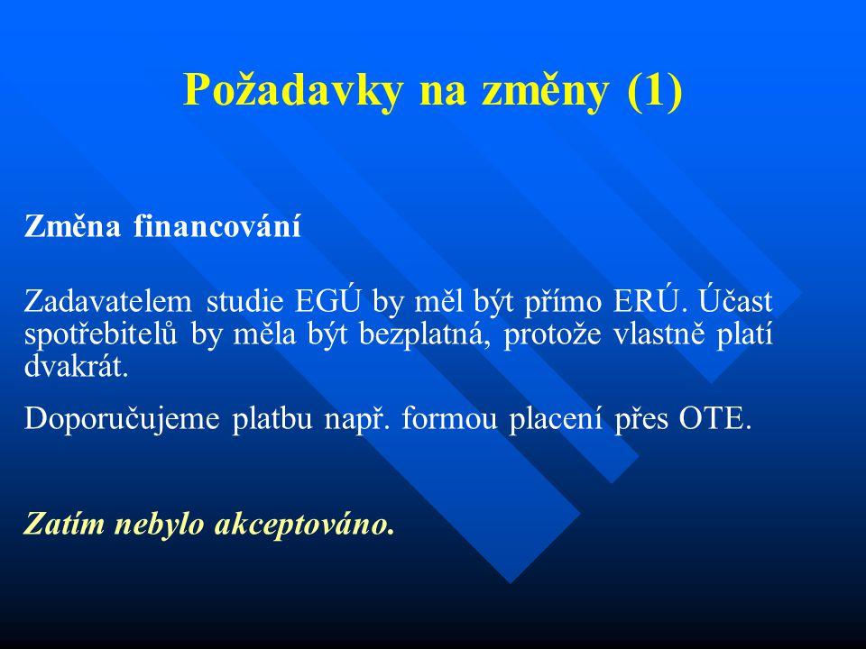 Požadavky na změny (1) Změna financování Zadavatelem studie EGÚ by měl být přímo ERÚ.