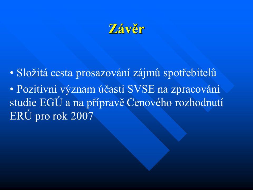 Závěr Složitá cesta prosazování zájmů spotřebitelů Pozitivní význam účasti SVSE na zpracování studie EGÚ a na přípravě Cenového rozhodnutí ERÚ pro rok 2007