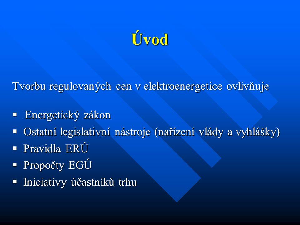 Tvorbu regulovaných cen v elektroenergetice ovlivňuje  Energetický zákon  Ostatní legislativní nástroje (nařízení vlády a vyhlášky)  Pravidla ERÚ 