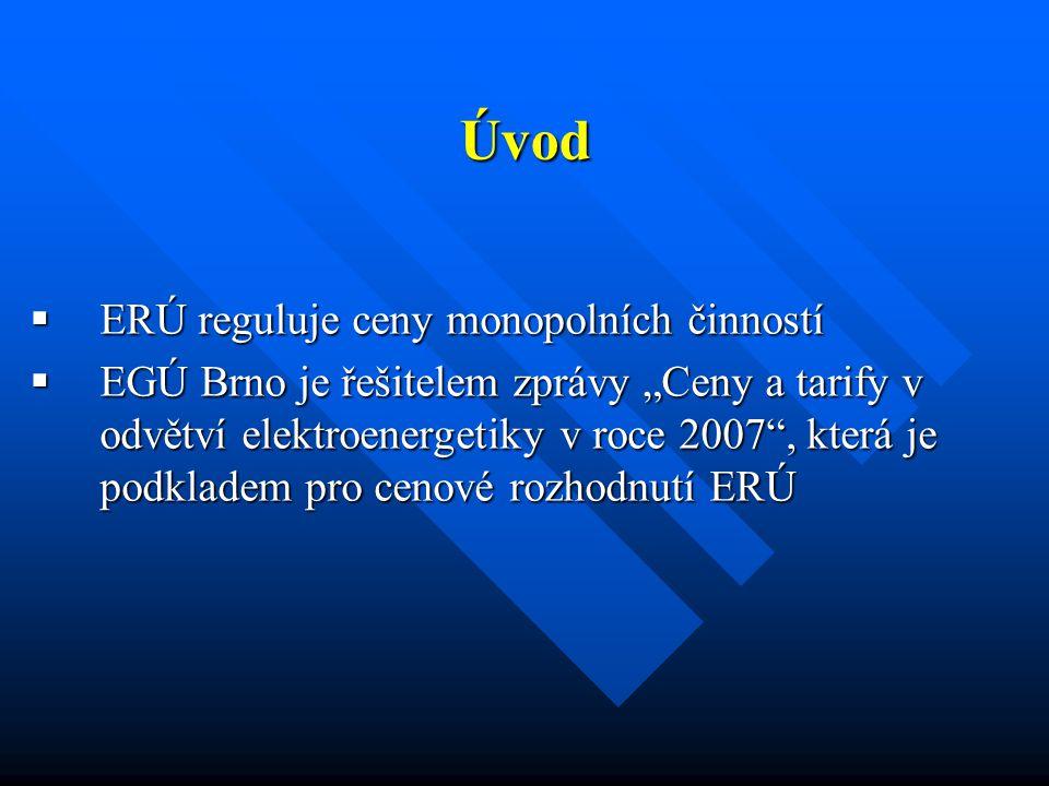 """Úvod  ERÚ reguluje ceny monopolních činností  EGÚ Brno je řešitelem zprávy """"Ceny a tarify v odvětví elektroenergetiky v roce 2007"""", která je podklad"""