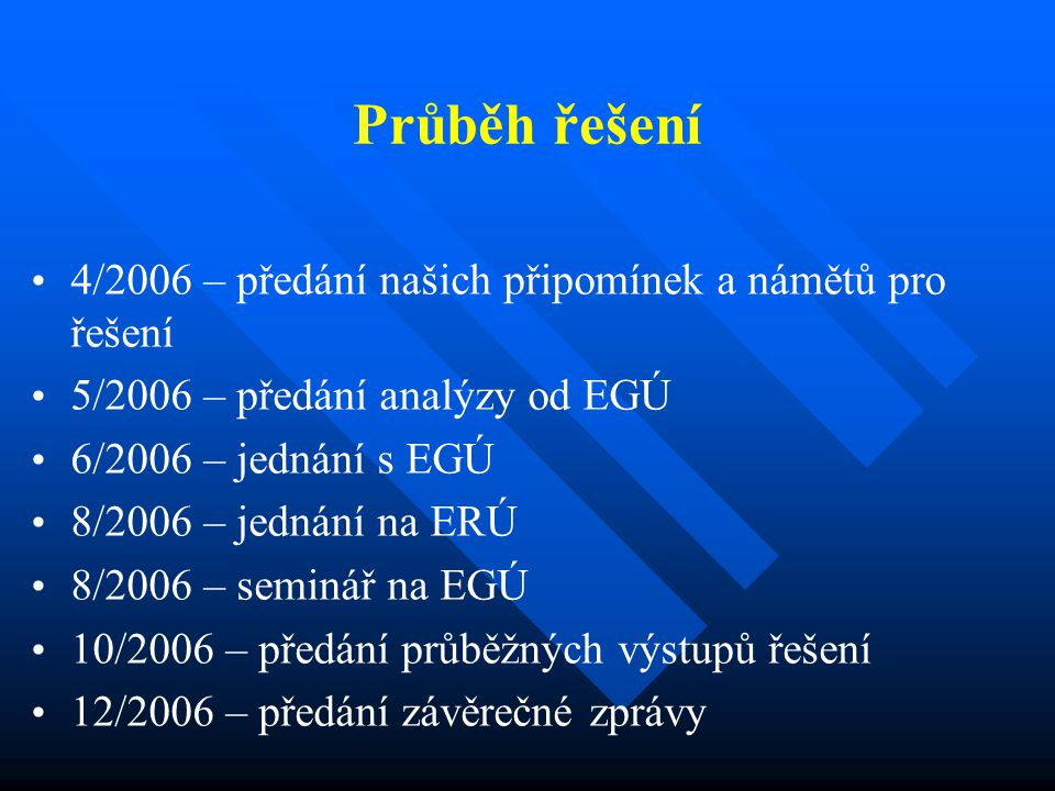 Průběh řešení 4/2006 – předání našich připomínek a námětů pro řešení 5/2006 – předání analýzy od EGÚ 6/2006 – jednání s EGÚ 8/2006 – jednání na ERÚ 8/2006 – seminář na EGÚ 10/2006 – předání průběžných výstupů řešení 12/2006 – předání závěrečné zprávy