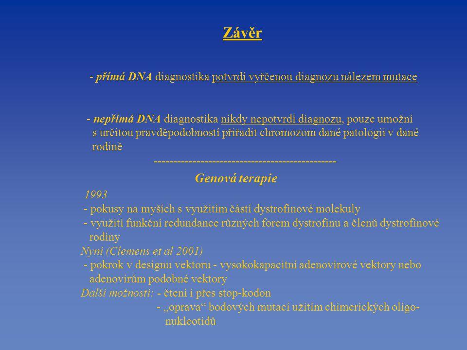"""Závěr - přímá DNA diagnostika potvrdí vyřčenou diagnozu nálezem mutace - nepřímá DNA diagnostika nikdy nepotvrdí diagnozu, pouze umožní s určitou pravděpodobností přiřadit chromozom dané patologii v dané rodině ----------------------------------------------- Genová terapie 1993 - pokusy na myších s využitím částí dystrofinové molekuly - využití funkční redundance různých forem dystrofinu a členů dystrofinové rodiny Nyní (Clemens et al 2001) - pokrok v designu vektoru - vysokokapacitní adenovirové vektory nebo adenovirům podobné vektory Další možnosti: - čtení i přes stop-kodon - """"oprava bodových mutací užitím chimerických oligo- nukleotidů"""