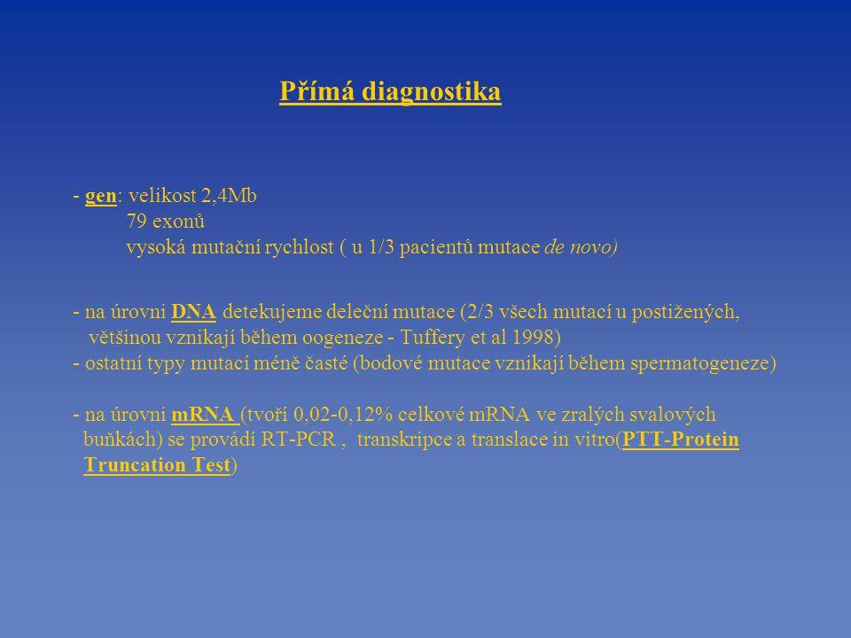 Na úrovni DNA - multiplex PCR (Chamberlain, Beggs, 1990, Abbs a kol., 1991) - syntézou 19 exonů může být nalezeno 98% mutací u probandů A - zdravý jedinec B - proband s dg DMD s detekovanou delecí ex.51,52,53 Amplifikační produkty byly analyzovány v polyakrylamidovém gelu a následně barveny dusičnanem stříbrným.