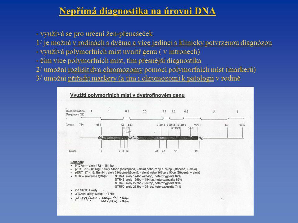Nepřímá diagnostika na úrovni DNA - využívá se pro určení žen-přenašeček 1/ je možná v rodinách s dvěma a více jedinci s klinicky potvrzenou diagnózou - využívá polymorfních míst uvnitř genu ( v intronech) - čím více polymorfních míst, tím přesnější diagnostika 2/ umožní rozlišit dva chromozomy pomocí polymorfních míst (markerů) 3/ umožní přiřadit markery (a tím i chromozom) k patologii v rodině