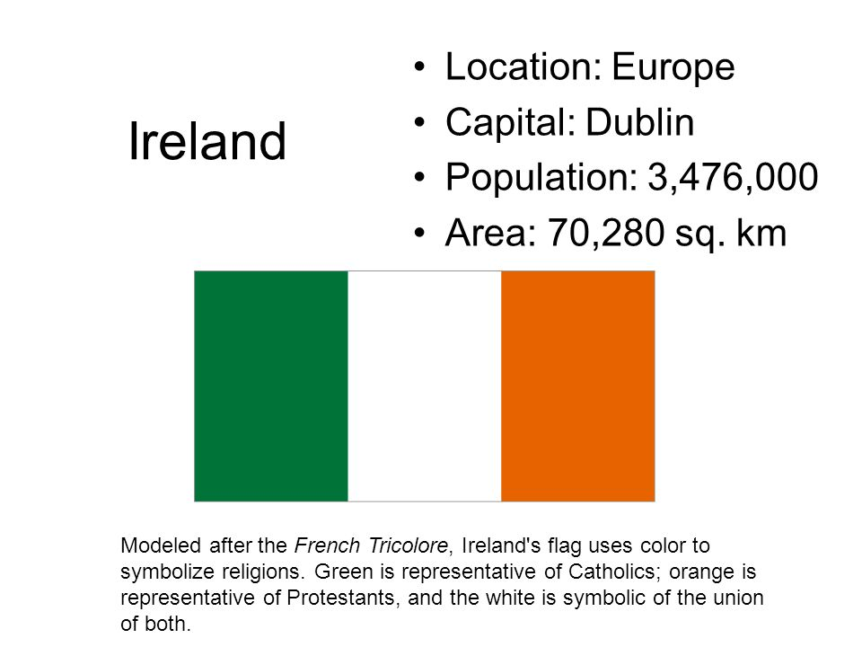 Ireland Location: Europe Capital: Dublin Population: 3,476,000 Area: 70,280 sq. km Modeled after the French Tricolore, Ireland's flag uses color to sy