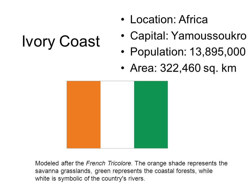 Ivory Coast Location: Africa Capital: Yamoussoukro Population: 13,895,000 Area: 322,460 sq. km Modeled after the French Tricolore. The orange shade re
