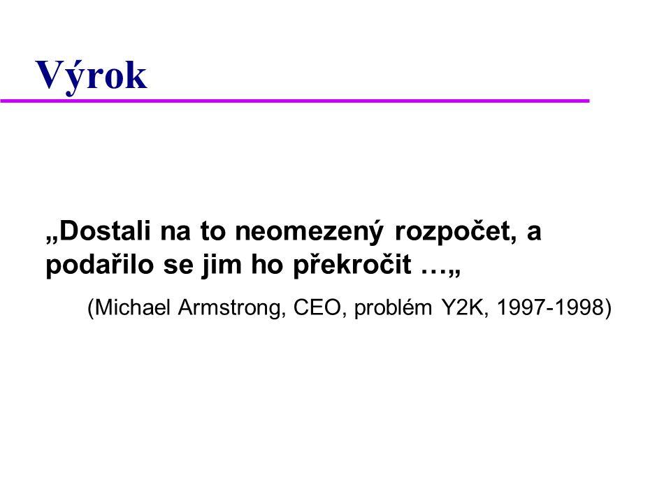 """Výrok """"Dostali na to neomezený rozpočet, a podařilo se jim ho překročit …"""" (Michael Armstrong, CEO, problém Y2K, 1997-1998)"""