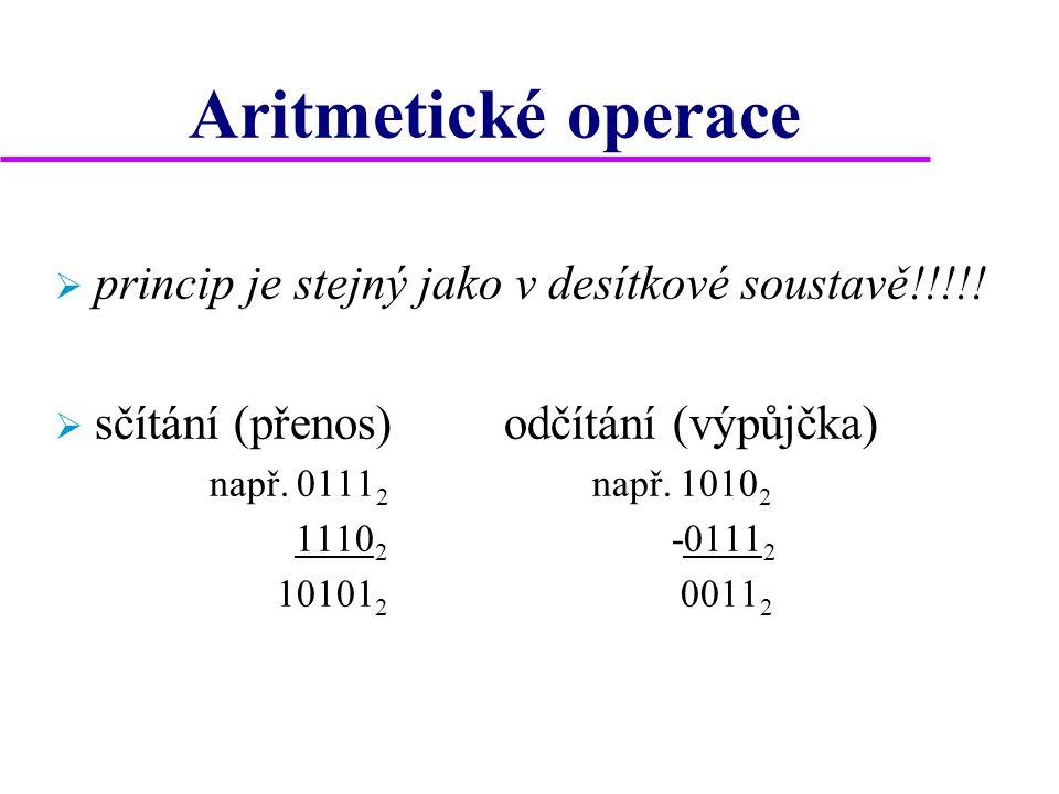 Aritmetické operace  princip je stejný jako v desítkové soustavě!!!!!  sčítání (přenos) odčítání (výpůjčka) např. 0111 2 např. 1010 2 1110 2 -0111 2
