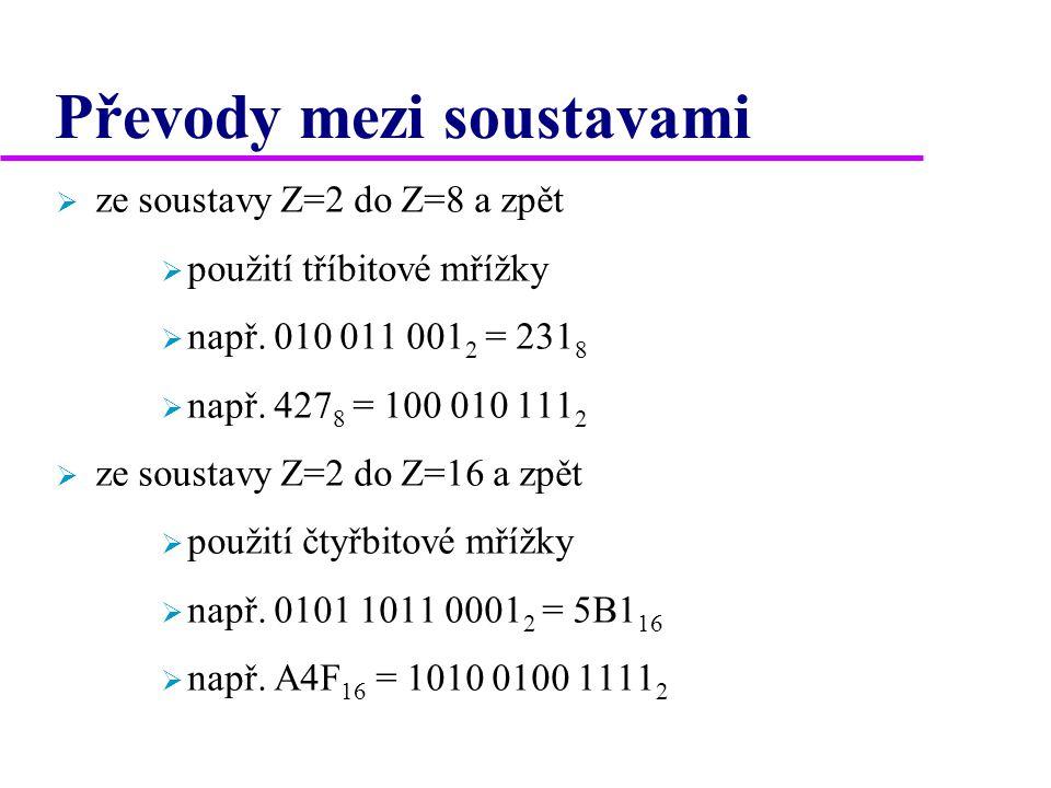 Převody mezi soustavami  ze soustavy Z=2 do Z=8 a zpět  použití tříbitové mřížky  např. 010 011 001 2 = 231 8  např. 427 8 = 100 010 111 2  ze so