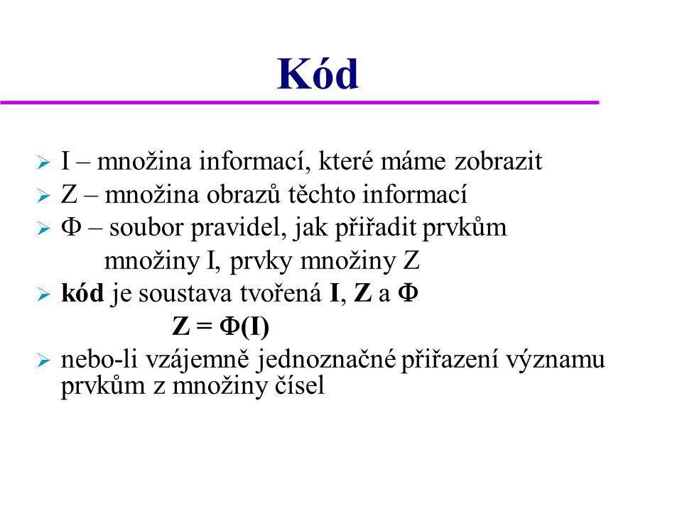Kód  I – množina informací, které máme zobrazit  Z – množina obrazů těchto informací   – soubor pravidel, jak přiřadit prvkům množiny I, prvky mno