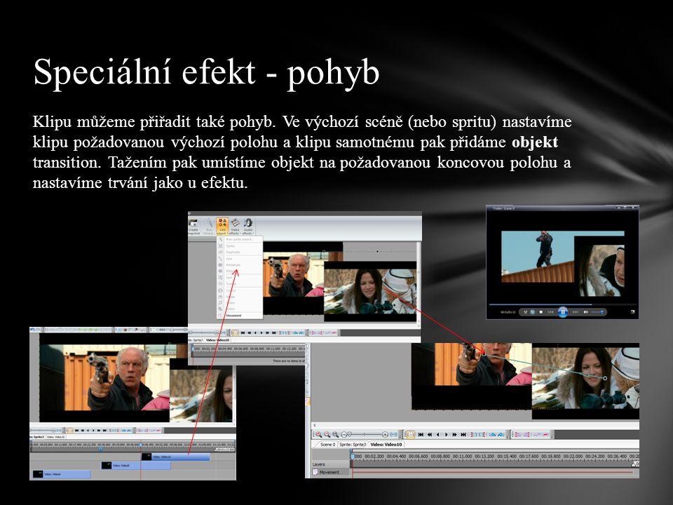  Trailer vytvořený v minulé lekci doplňte vhodnými efekty pro přechod scén nebo úpravu klipů. Úkol