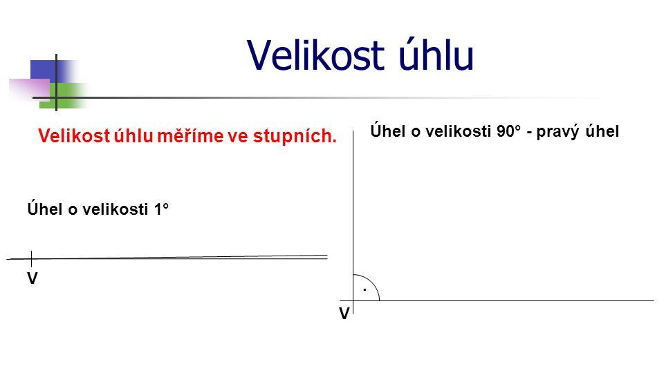 Velikost úhlu Velikost úhlu měříme ve stupních. V Úhel o velikosti 1° Úhel o velikosti 90° - pravý úhel. V