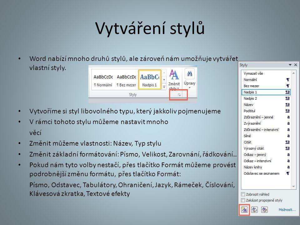 Vytváření stylů Word nabízí mnoho druhů stylů, ale zároveň nám umožňuje vytvářet vlastní styly. Vytvoříme si styl libovolného typu, který jakkoliv poj