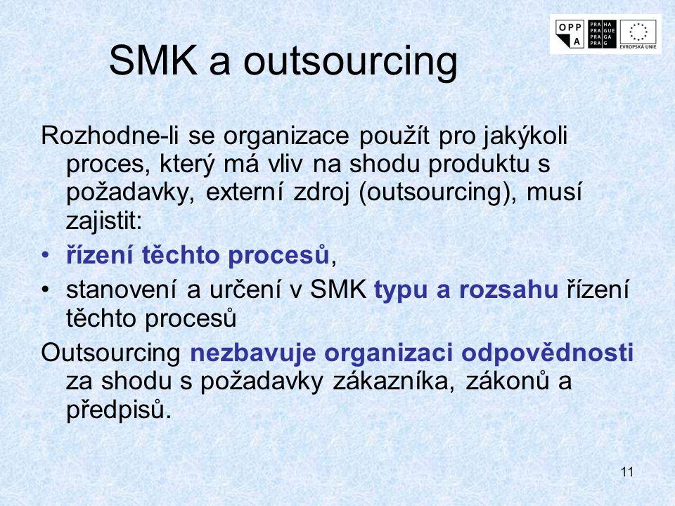 11 SMK a outsourcing Rozhodne-li se organizace použít pro jakýkoli proces, který má vliv na shodu produktu s požadavky, externí zdroj (outsourcing), musí zajistit: řízení těchto procesů, stanovení a určení v SMK typu a rozsahu řízení těchto procesů Outsourcing nezbavuje organizaci odpovědnosti za shodu s požadavky zákazníka, zákonů a předpisů.