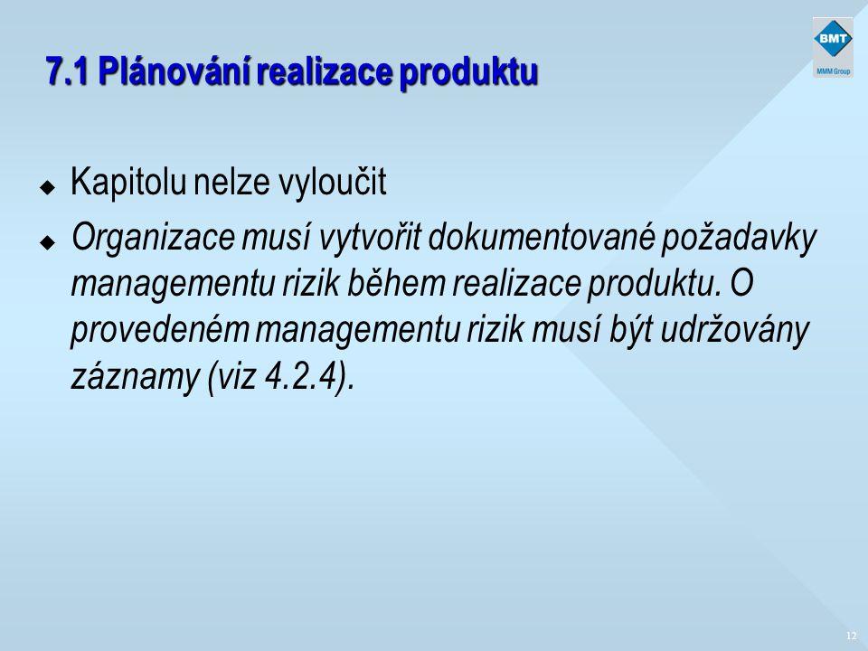 7.1 Plánování realizace produktu u Kapitolu nelze vyloučit u Organizace musí vytvořit dokumentované požadavky managementu rizik během realizace produk