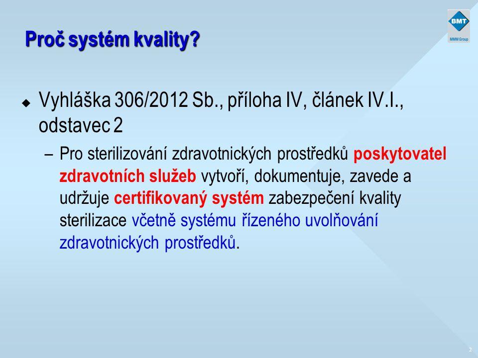 Proč systém kvality? u Vyhláška 306/2012 Sb., příloha IV, článek IV.I., odstavec 2 –Pro sterilizování zdravotnických prostředků poskytovatel zdravotní