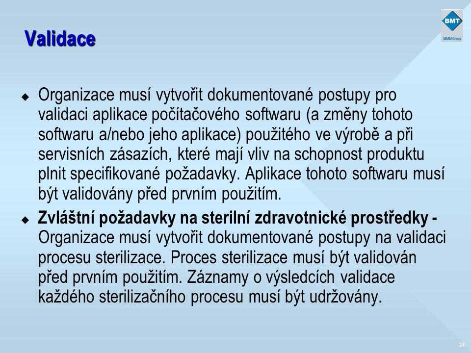 24 Validace u Organizace musí vytvořit dokumentované postupy pro validaci aplikace počítačového softwaru (a změny tohoto softwaru a/nebo jeho aplikace