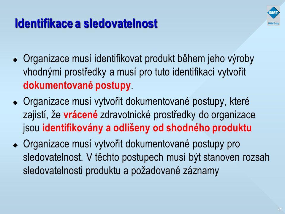 25 Identifikace a sledovatelnost u Organizace musí identifikovat produkt během jeho výroby vhodnými prostředky a musí pro tuto identifikaci vytvořit d