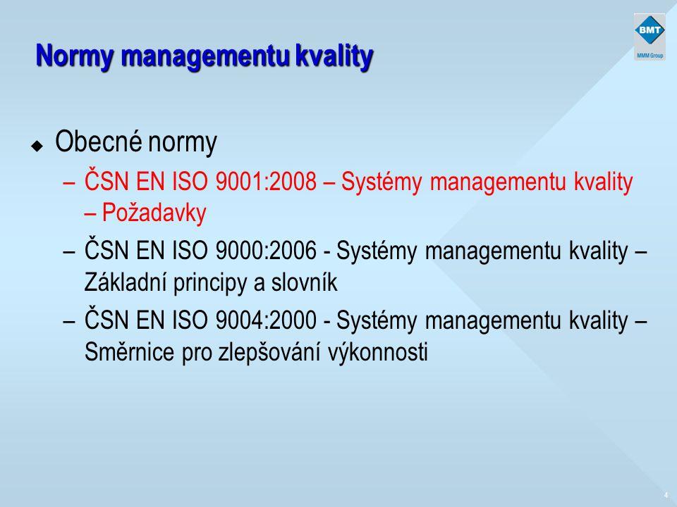 4 Normy managementu kvality u Obecné normy –ČSN EN ISO 9001:2008 – Systémy managementu kvality – Požadavky –ČSN EN ISO 9000:2006 - Systémy managementu