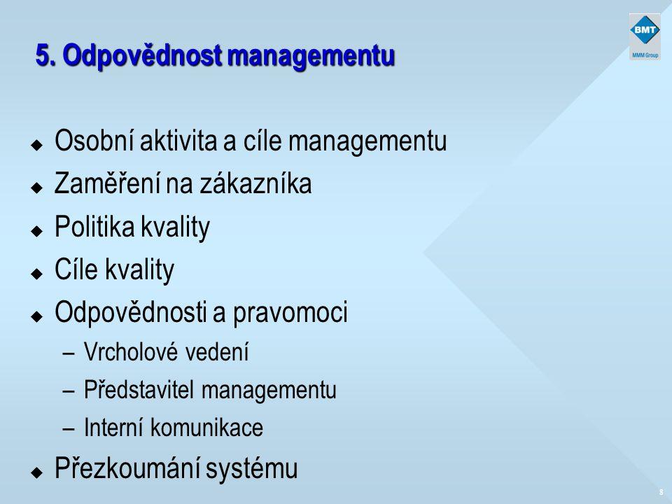 5. Odpovědnost managementu u Osobní aktivita a cíle managementu u Zaměření na zákazníka u Politika kvality u Cíle kvality u Odpovědnosti a pravomoci –