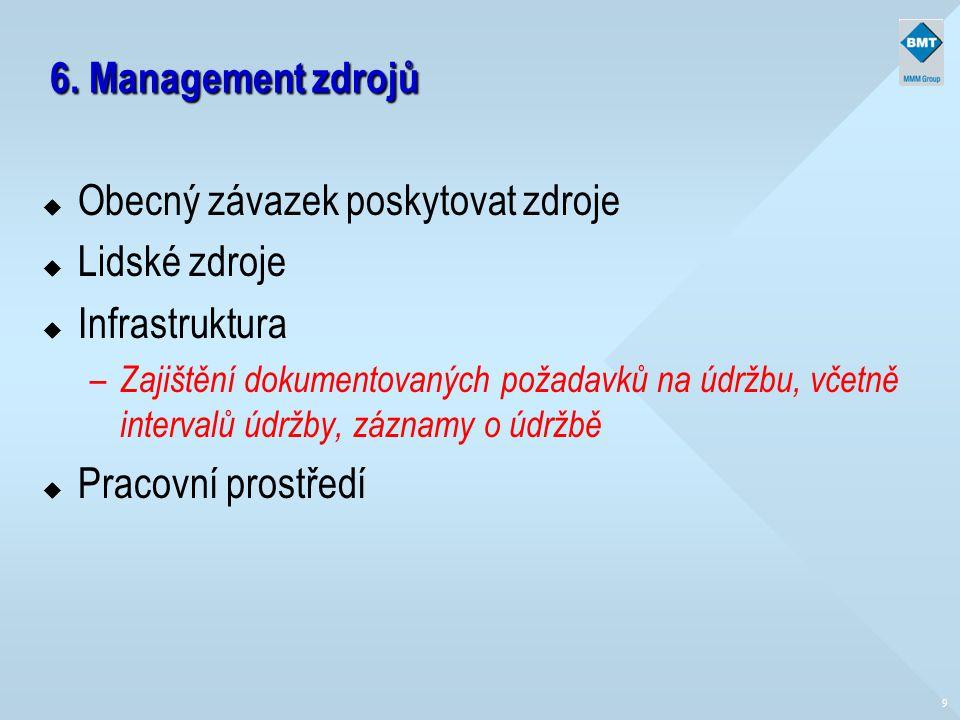6. Management zdrojů u Obecný závazek poskytovat zdroje u Lidské zdroje u Infrastruktura – Zajištění dokumentovaných požadavků na údržbu, včetně inter