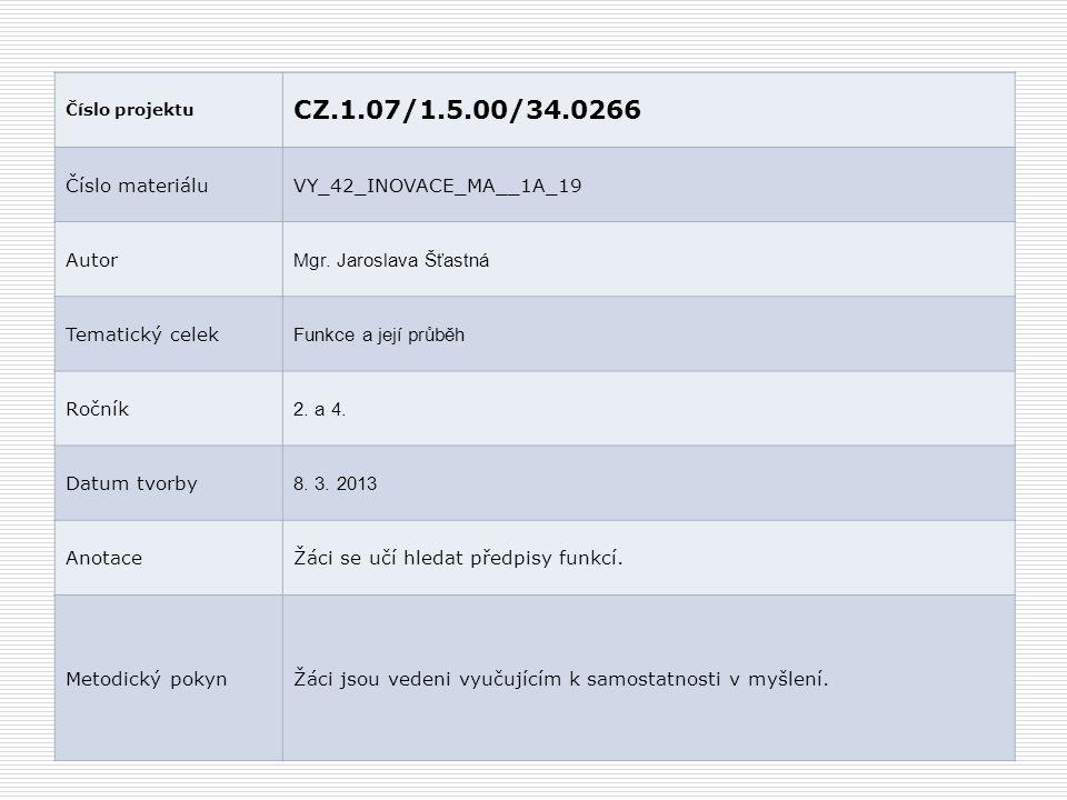 Číslo projektu CZ.1.07/1.5.00/34.0266 Číslo materiáluVY_42_INOVACE_MA__1A_19 Autor Mgr.