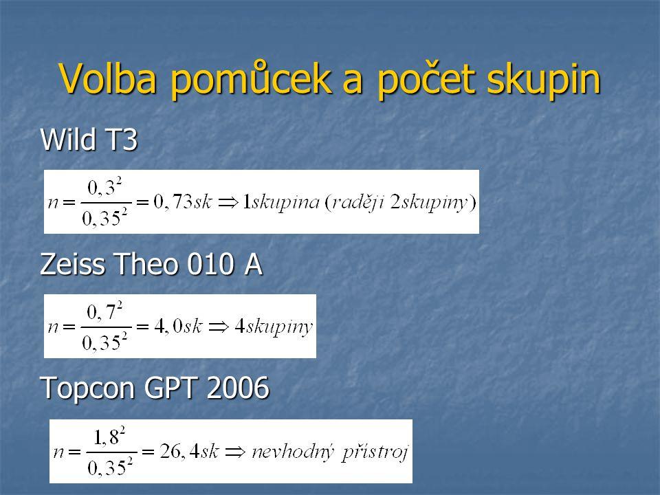 Volba pomůcek a počet skupin Wild T3 Zeiss Theo 010 A Topcon GPT 2006