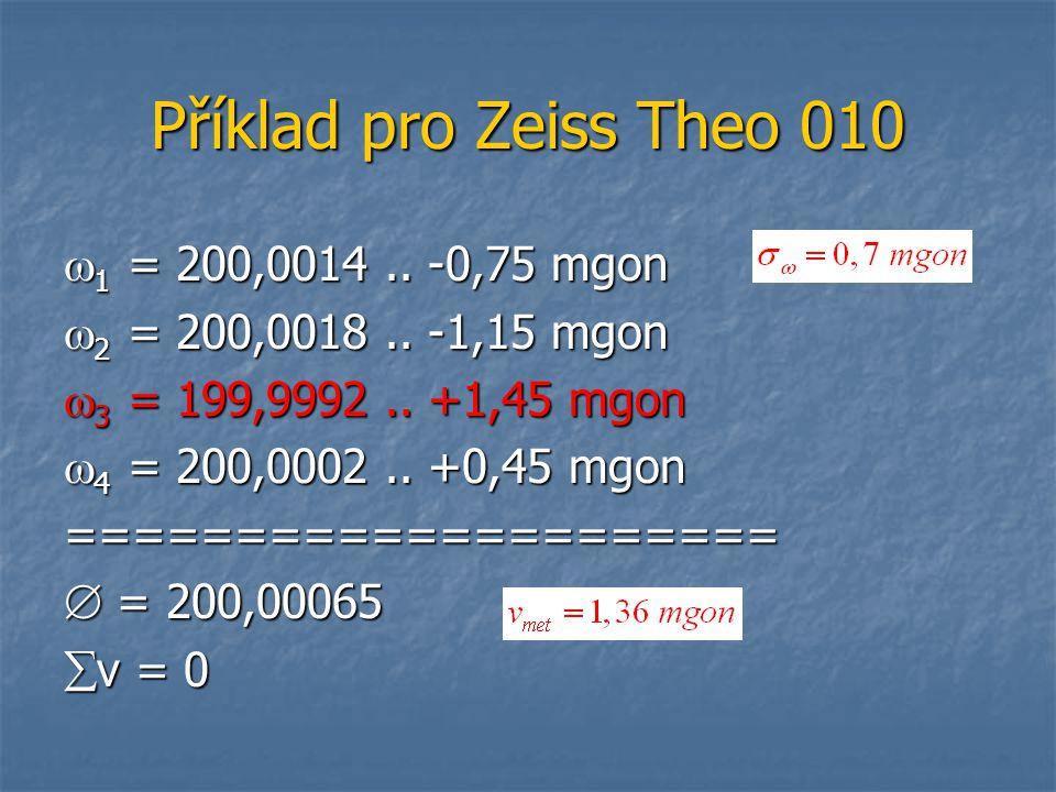 Příklad pro Zeiss Theo 010  1 = 200,0014.. -0,75 mgon  2 = 200,0018.. -1,15 mgon  3 = 199,9992.. +1,45 mgon  4 = 200,0002.. +0,45 mgon ===========