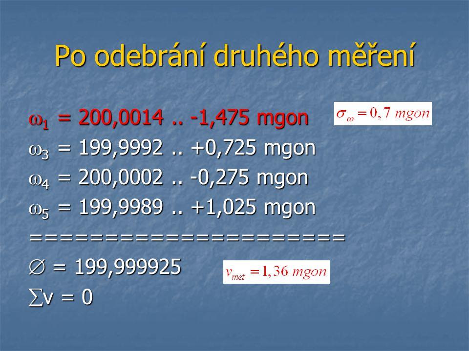 Po odebrání druhého měření  1 = 200,0014.. -1,475 mgon  3 = 199,9992.. +0,725 mgon  4 = 200,0002.. -0,275 mgon  5 = 199,9989.. +1,025 mgon =======