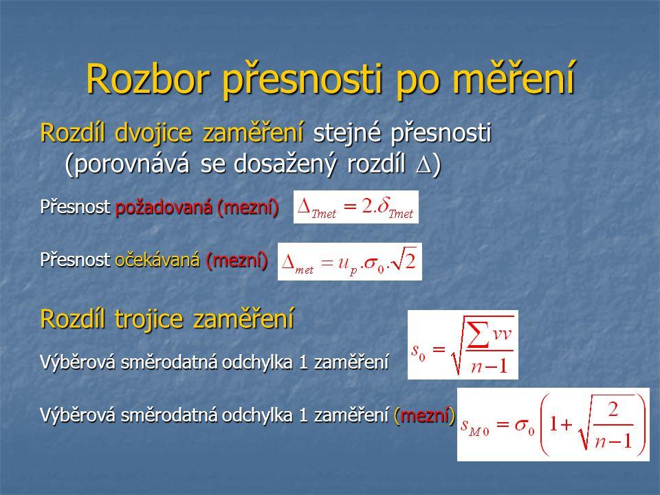 Rozbor přesnosti po měření Rozdíl dvojice zaměření stejné přesnosti (porovnává se dosažený rozdíl  ) Přesnost požadovaná (mezní) Přesnost očekávaná (