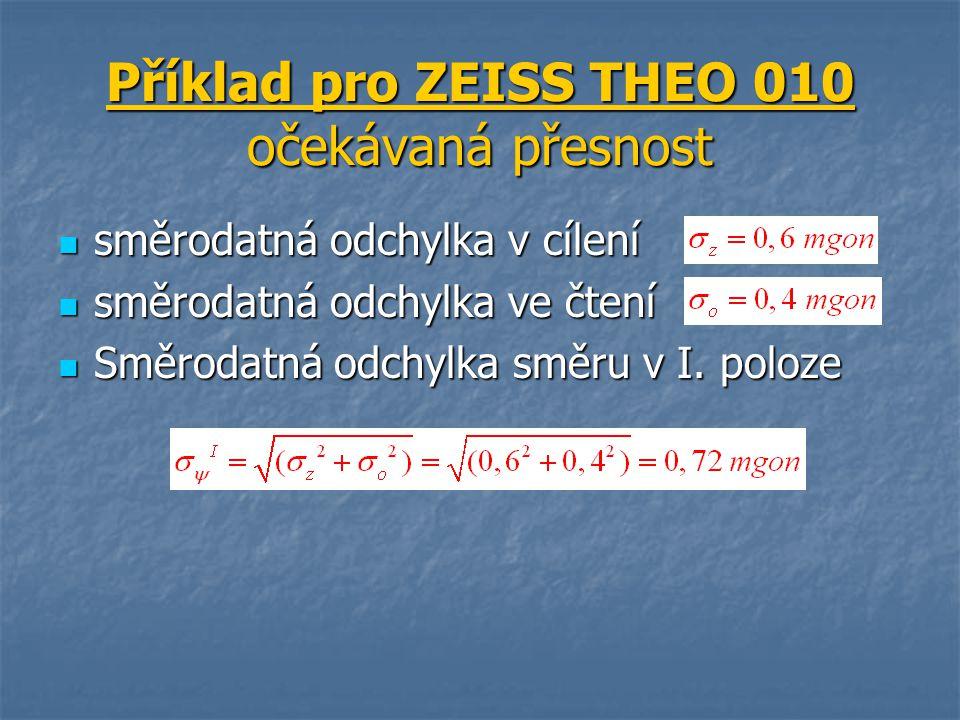 Příklad pro ZEISS THEO 010 očekávaná přesnost směrodatná odchylka v cílení směrodatná odchylka v cílení směrodatná odchylka ve čtení směrodatná odchyl