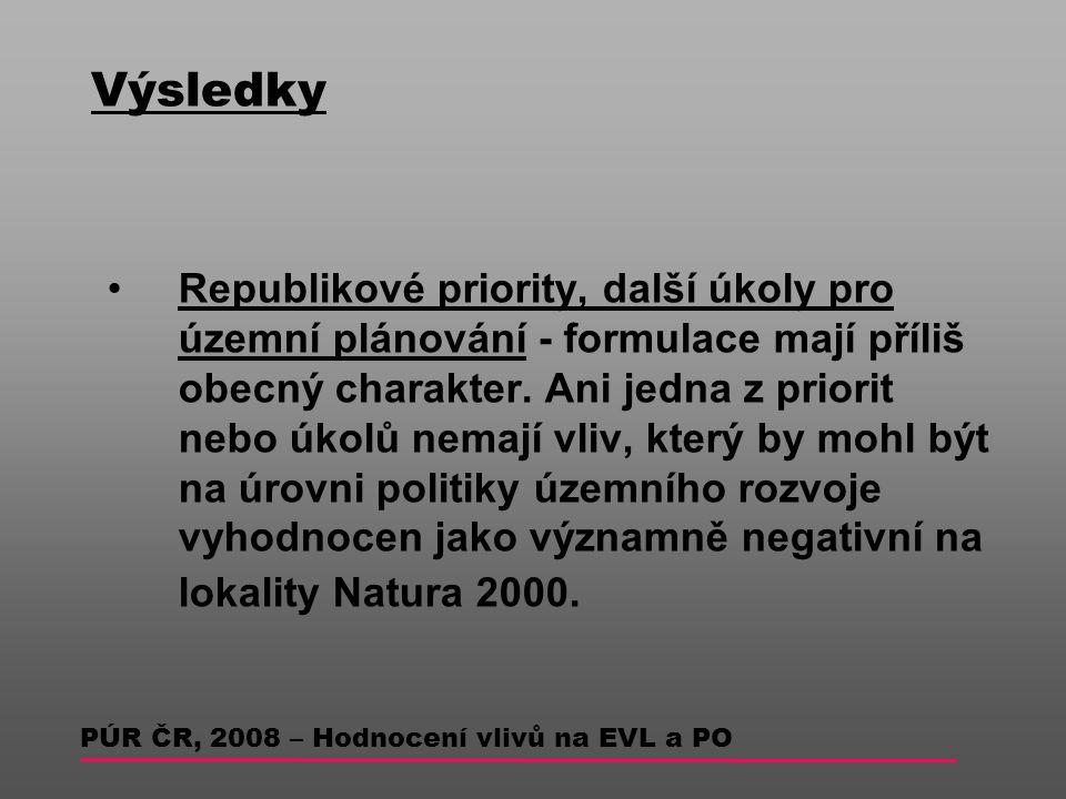 Výsledky Republikové priority, další úkoly pro územní plánování - formulace mají příliš obecný charakter.